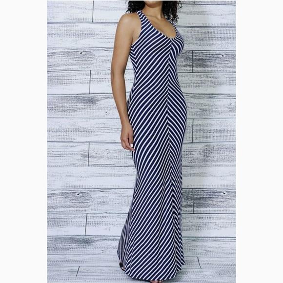 Merona Dresses & Skirts - Merona Maxi Dress Navy & White Chevron